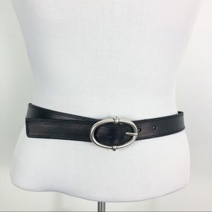 Talbots Brown Leather Belt Silver Oval Buckle S